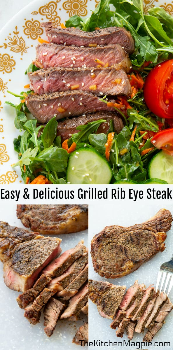When grilling rib eye steak, all you need is seasoning, steaks and a good meat thermometer! No marinade required.