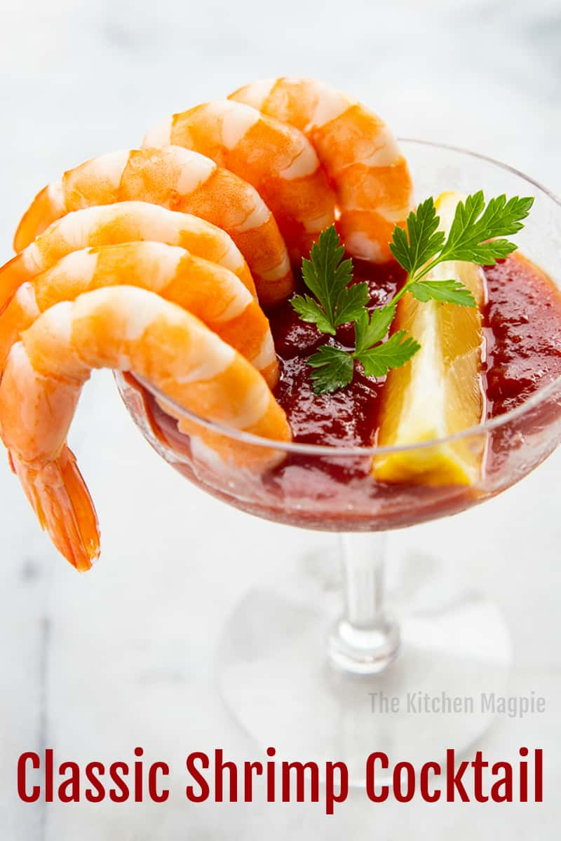 Cooked, cold shrimp served in a coupe or martini glass with homemade cocktail sauce is the perfect appetizer for every occasion! This Classic Shrimp Cocktail Recipe has been popular for decades for good reason! #shrimp #appetizer