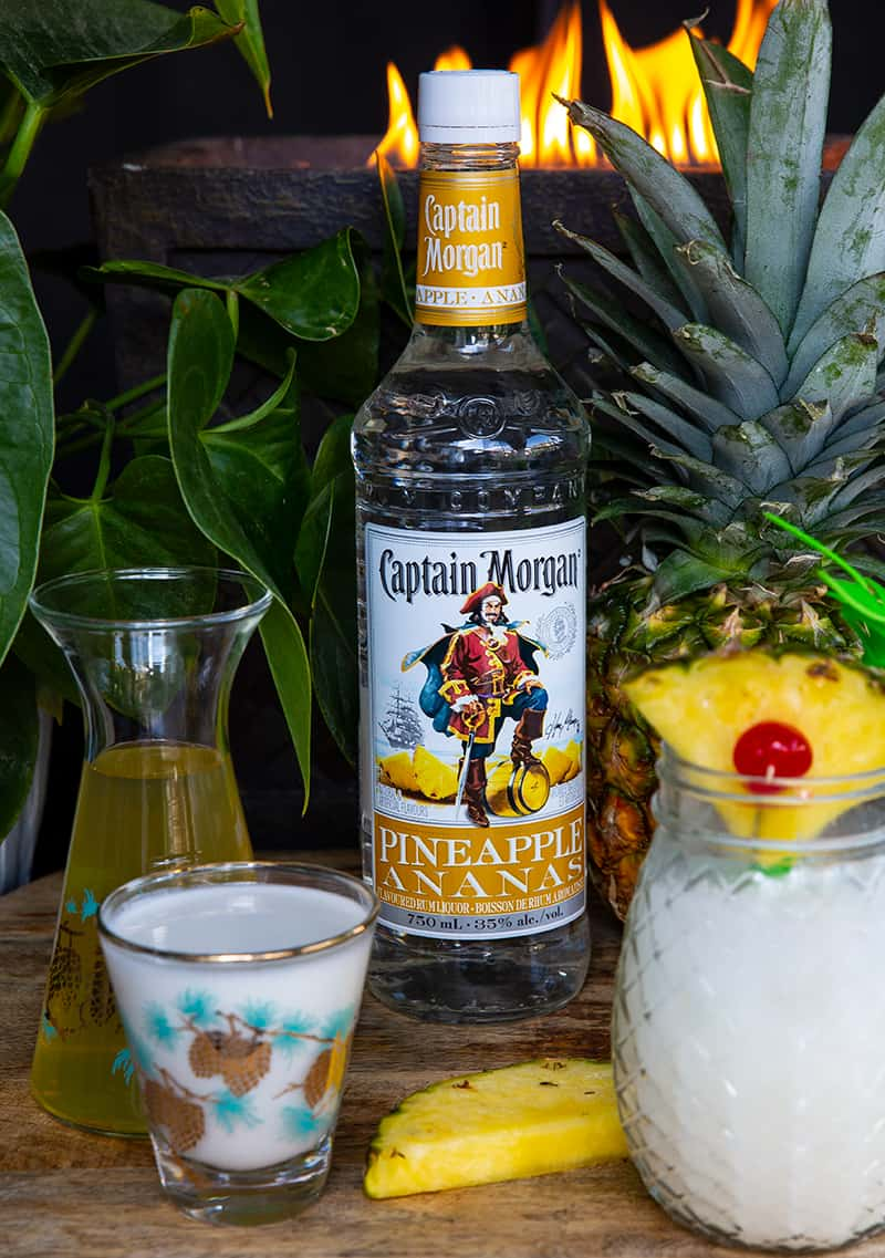 Pineapple Rum, cream of coconut and pineapple juice for Piña Colada