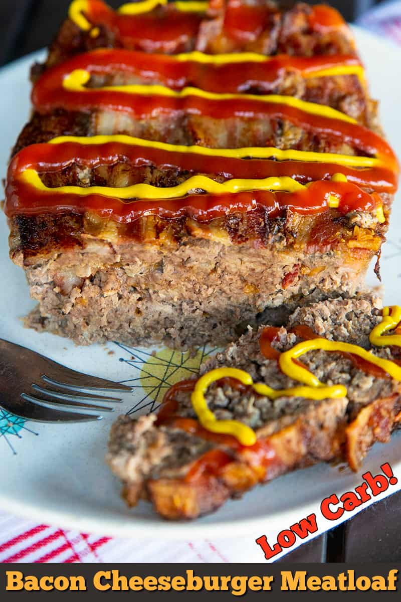 This bacon cheeseburger meatloaf is a cheeseburger without the bun! Great for low carb and keto diets, but also for meatloaf lovers! The pickles are tops!!!!