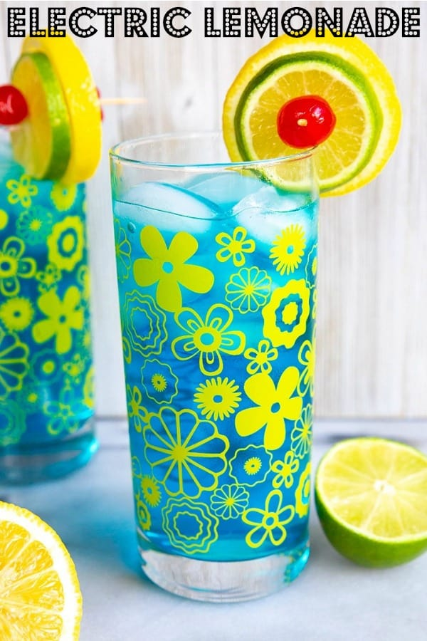 Electric Lemonade is a bright and refreshing vodka based cocktail with Blue Curacao that you are sure to enjoy. #cocktails #bluecuracao #vodka #lemonade @kitchenmagpie