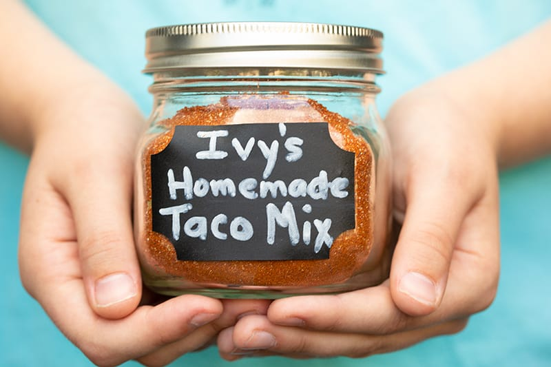 Homemade Taco Seasoning in small glass jar with lid