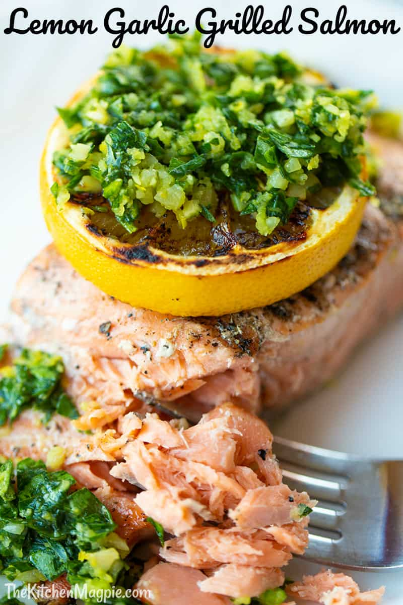 This fantastic grilled salmon is a great recipe for people that might not like the heavy fish taste of salmon. The light lemony gremolata is the taste highlight of the dish.