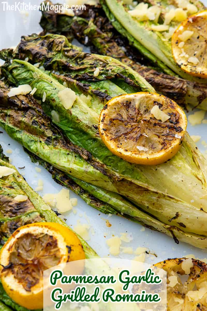 This Parmesan Garlic Grilled Romaine is the perfect vegetable side dish to go along with grilled steaks, chicken and more. It's a delicious way to eat your salad greens!