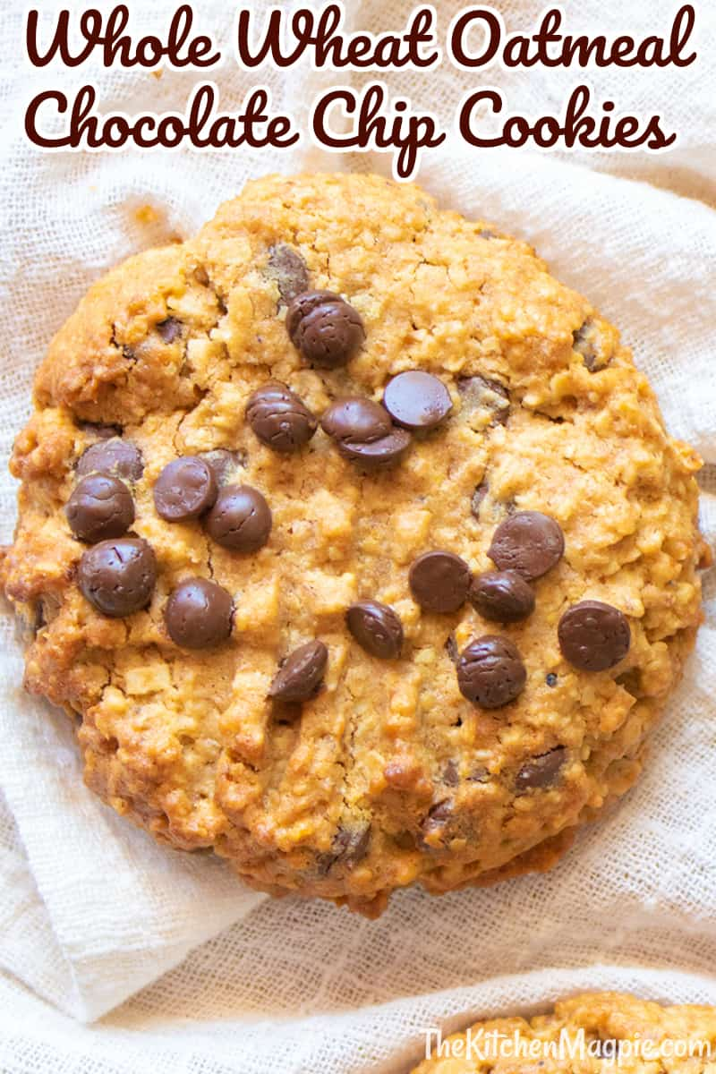 Whole Wheat Oatmeal Chocolate Chip Cookies with hemp hearts and palm sugar - perfect for kids lunches! A healthier oatmeal cookie!