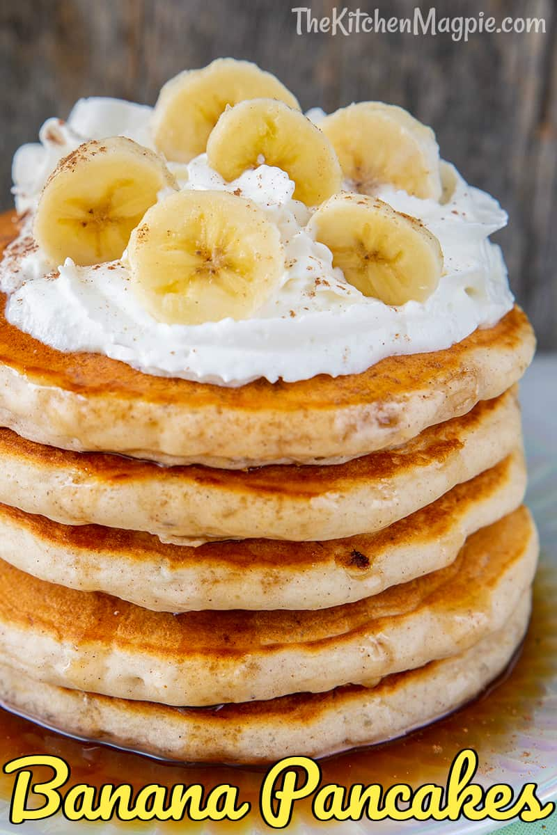 These fluffy, delicious banana pancakes are perfect for using up ripe bananas and an easy, healthy breakfast for the family.