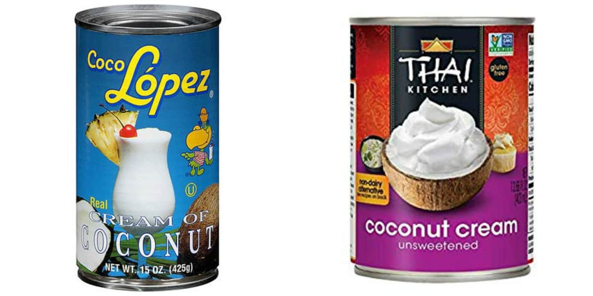 Cream of Coconut on the left and Coconut Cream on the right