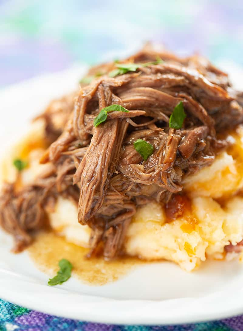 close up 3 Ingredient Shredded Beef with mashed potatoes