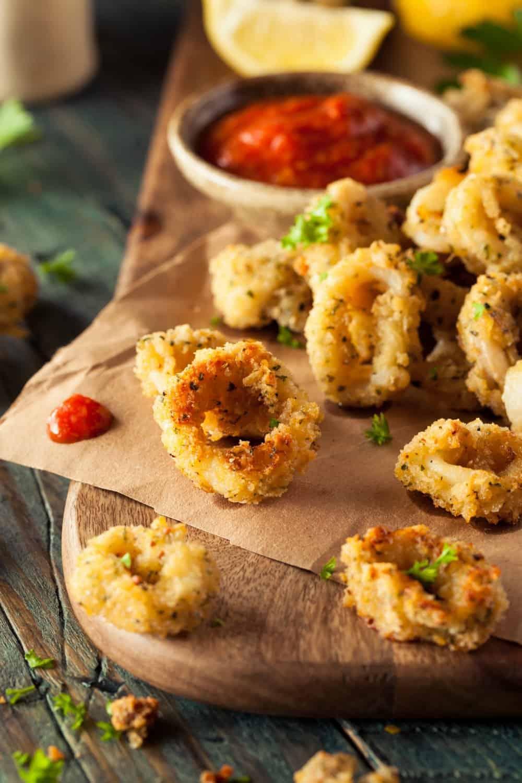 Homemade Breaded Fried Calamari with Marinara Sauce