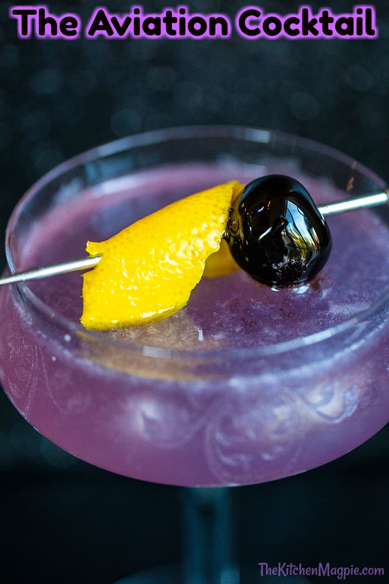 This aviation cocktail is a classic pretty purple cocktail that has been around for decades! Creme de Violette is what gives it the unique color.