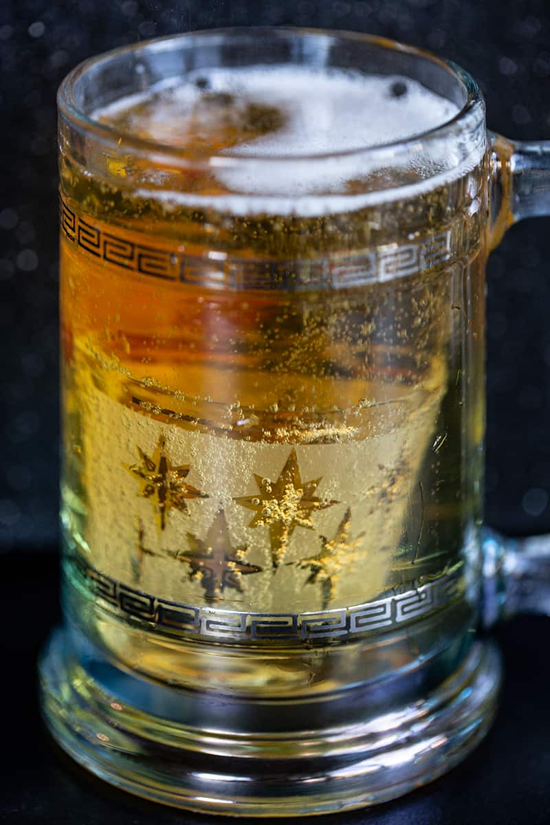 The shot glass of whiskey submerged in a glass of beer - this is how the Boilermaker should look when complete.