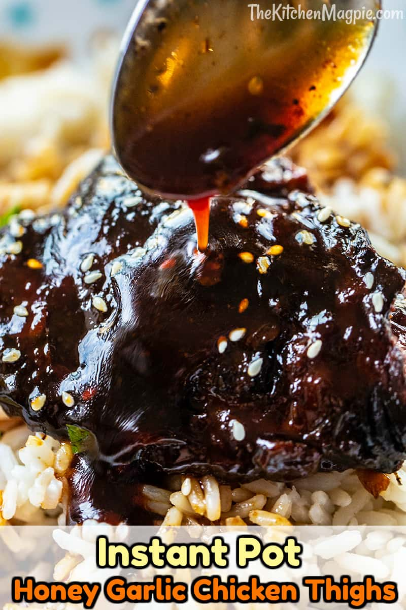I took my mother in law's amazing honey garlic chicken recipe and show you how to make simply the best Instant Pot chicken thighs swimming in a delicious honey garlic sauce!