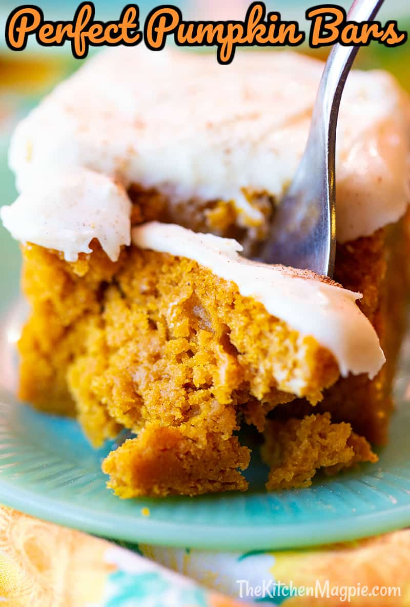 These decadent pumpkin bars are how pumpkin bars should be - luscious bars somewhere between a pie and a cake texture and tastes like eating a pumpkin pie - but easier to make!