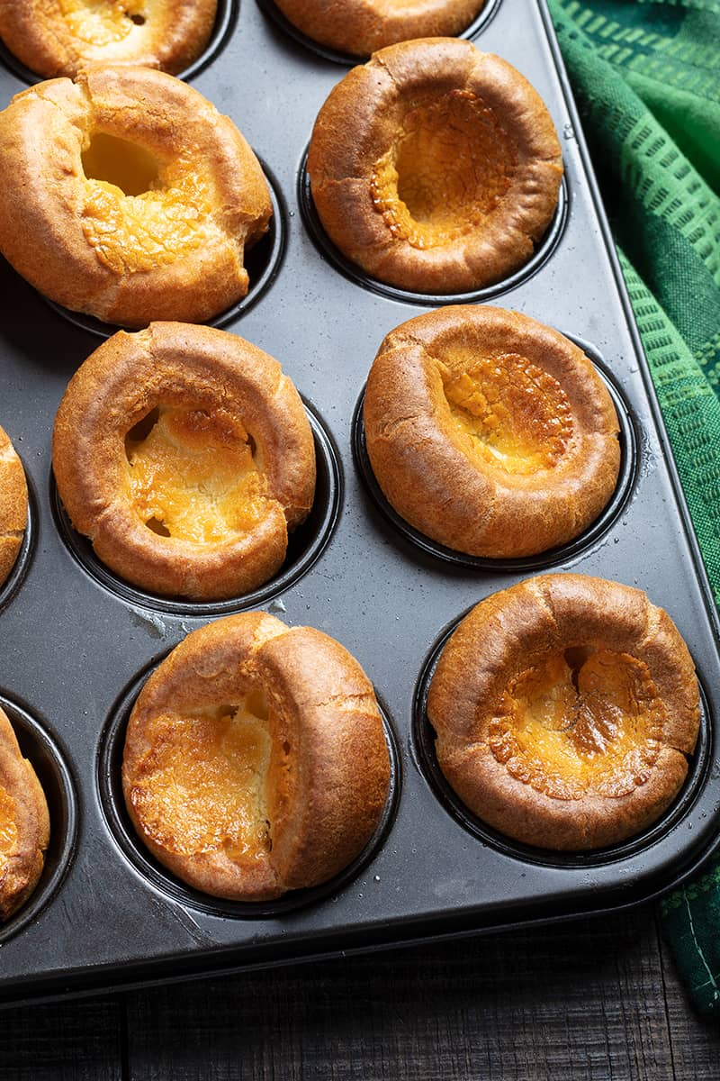close up oven baked Yorkshire Pudding on muffin tin