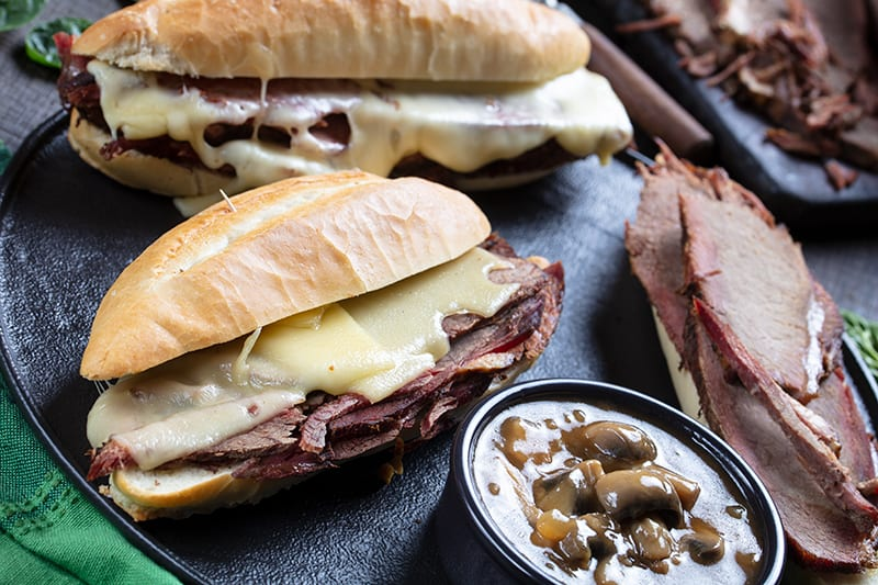Cheesy Mushroom French Dip Sandwiches
