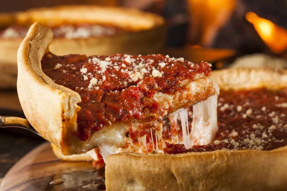 close up slice of a Chicago Style Pizza