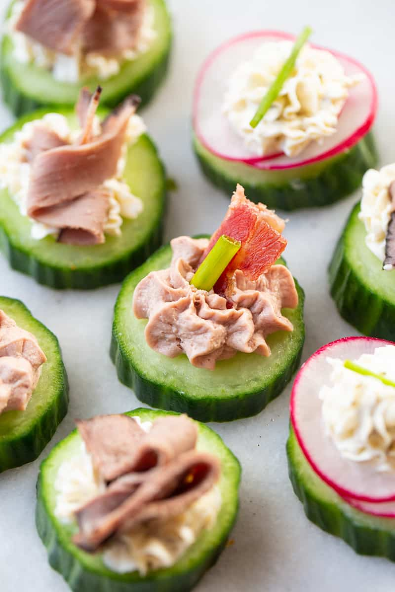 Low Carb Canapés in cucumber slices