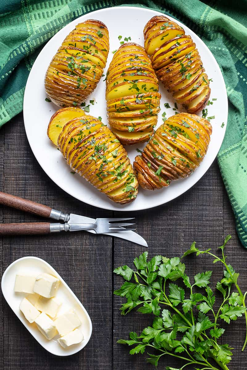 Final shot of roasted Hasselback Potatoes