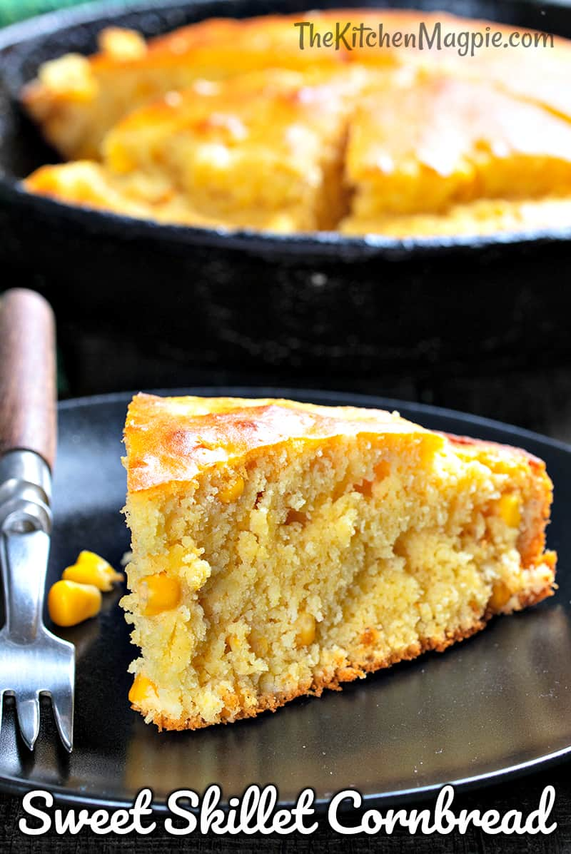 How to make a deliciously sweet honey skillet cornbread in no time at all! This recipe uses honey and corn niblets for the perfect cornbread.
