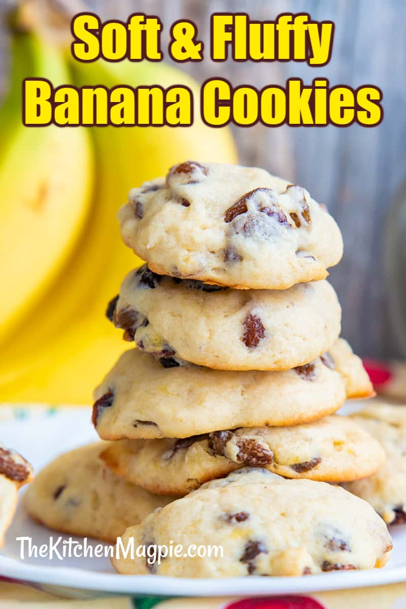 These soft & fluffy banana cookies are the perfect way to use up very ripe bananas - or the ones that you have stored in your freezer for baking!