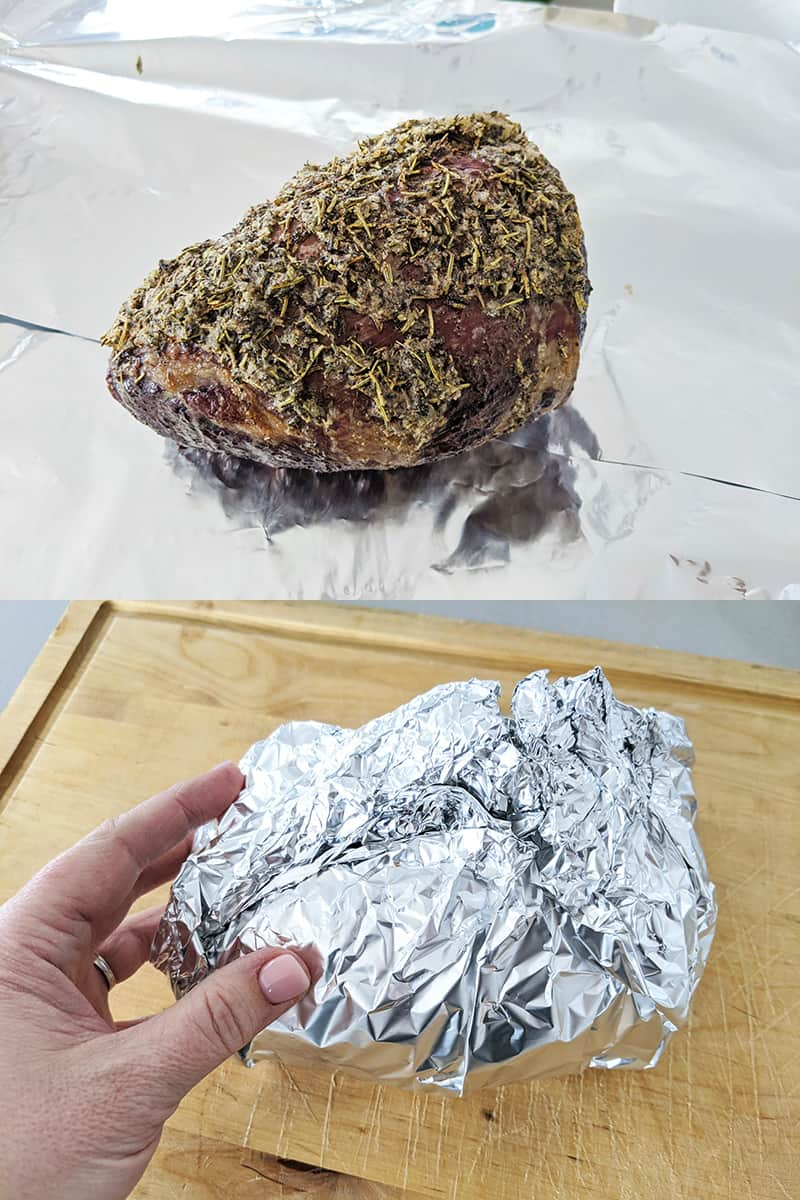 how to tent an eye of round roast in a tinfoil