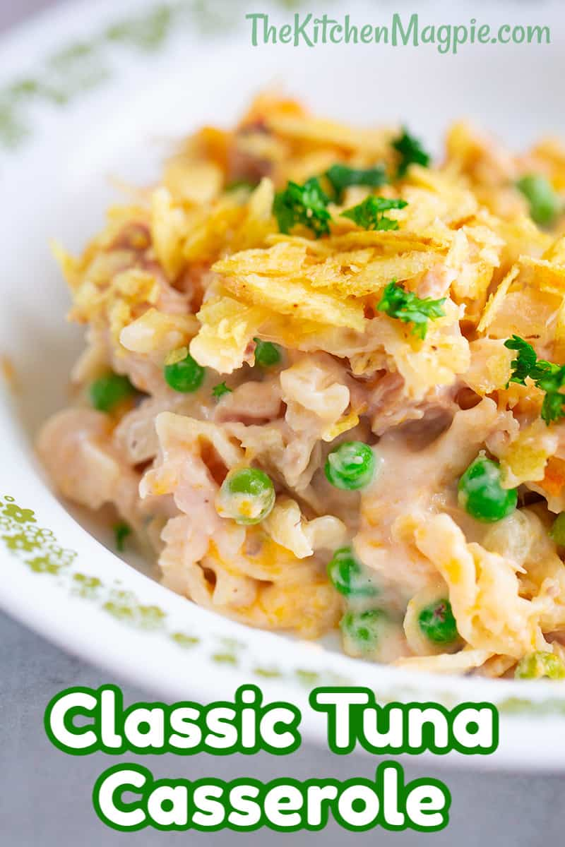 Nothing says comfort food like a hot, bubbling tuna casserole straight from the oven and my Mom's recipe is simply the best! This tuna casserole was one of my favorite dinners when growing up.
