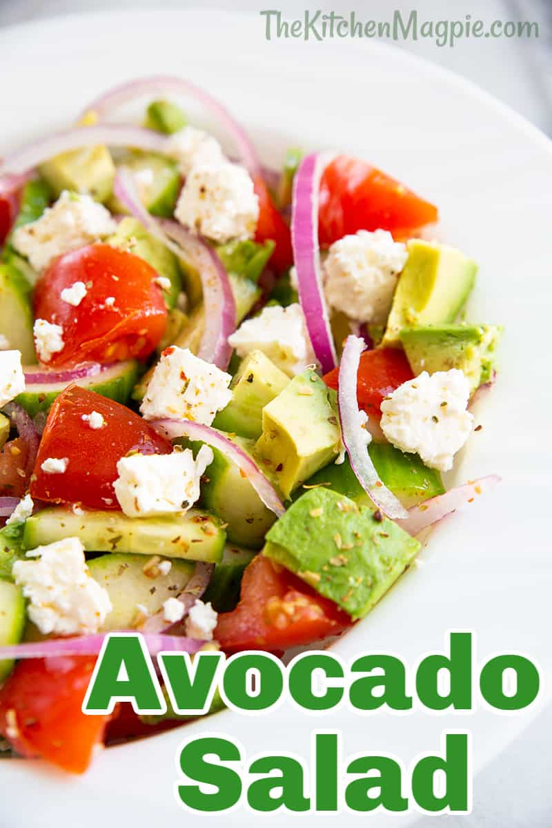This Greek avocado salad is super healthy, delicious, easy to make and will use up those avocados that are just about to be overripe on your counter, the best of all worlds!
