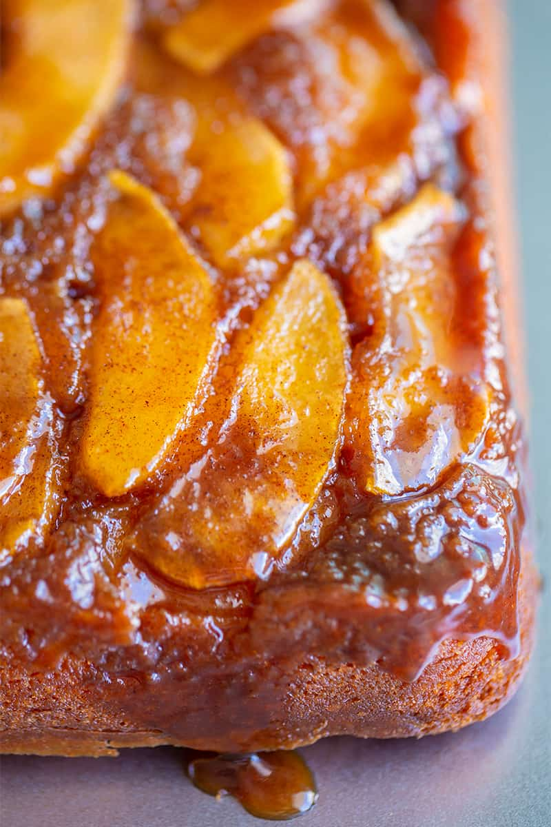close up delicious upside down apple cake with decadent brown sugar caramel and apple cinnamon toppings