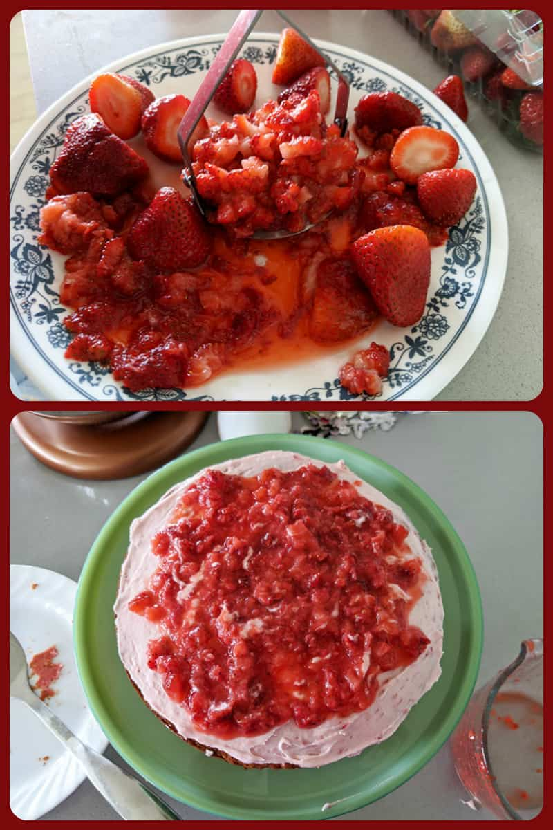 collage of crushed fresh strawberries in a plate and on top of cake