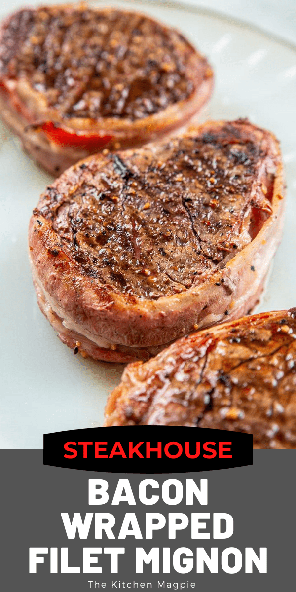 How to make restaurant quality grilled Filet Mignon at home! Wrap them in bacon and season with Montreal steak spice, because simple is the best! #steak #filetmignon #bacon #grilling