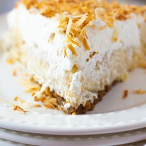 close up slice of coconut cream pie