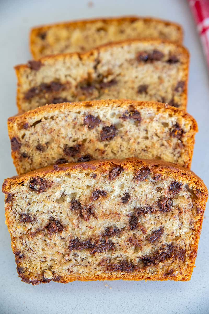 Four Slices of Chocolate Chip Sour Cream Banana Breads
