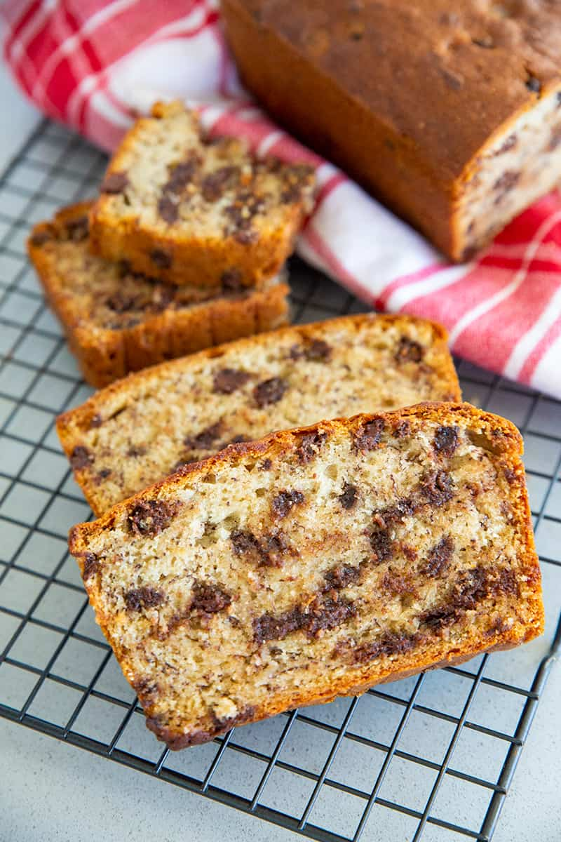 Close up Slices of Chocolate Chip Sour Cream Banana Bread on Cooling Rack