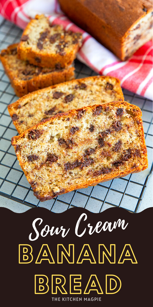 The BEST sour cream banana bread recipe - decadent and loaded with chocolate chips! The sour cream really adds a lovely tang and makes an incredibly moist banana bread! #bananabread #chocolatechip #sourcream #banana #baking #recipe