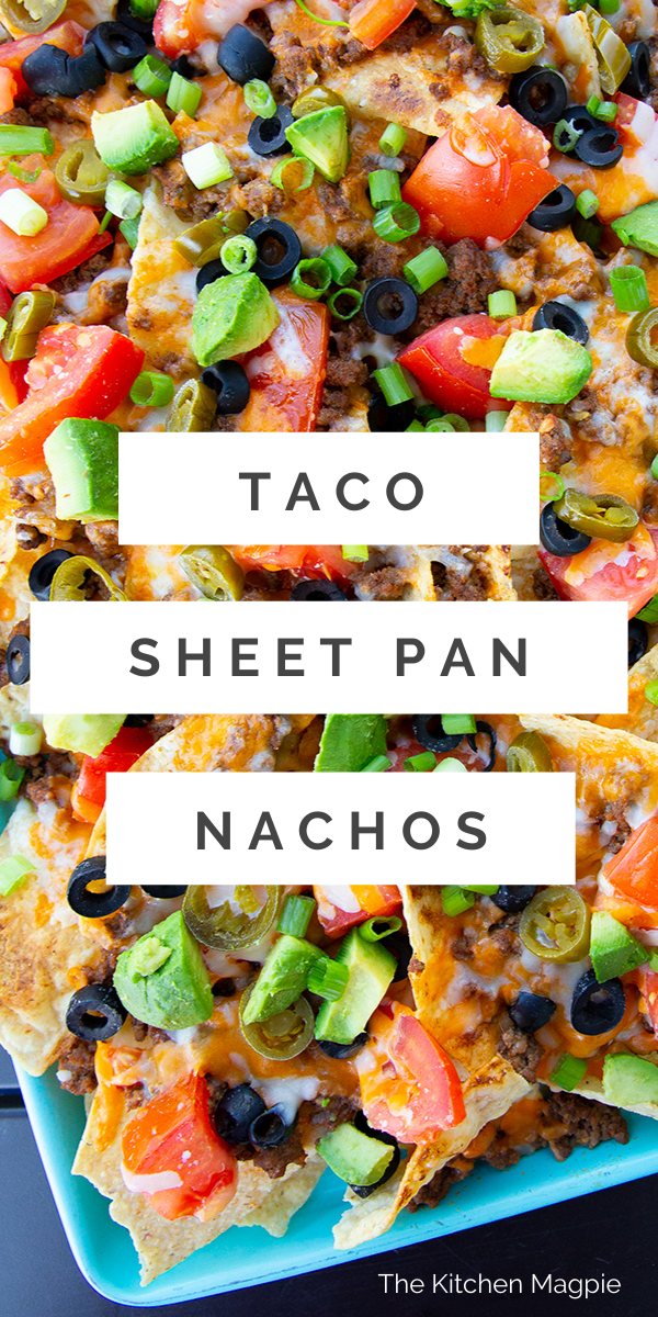 These taco sheet pan nachos are the perfect meal for when you want to nibble on food while out on the deck sipping some summer cocktails in the hot weather. All you have to do is prepare the taco meat, dice up all of your ingredients and then broil them in the oven to melt the cheese!