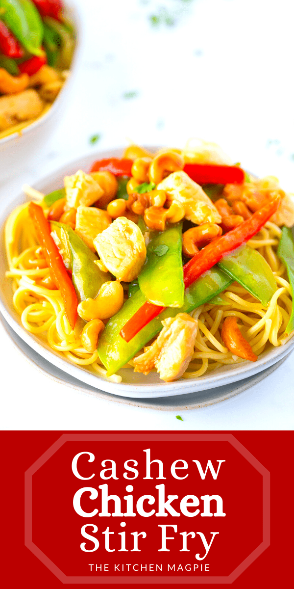 This simple and delicious cashew chicken stir-fry is fast, healthy and a great way to get in your daily vegetables and protein! #chicken #healthy #stirfry