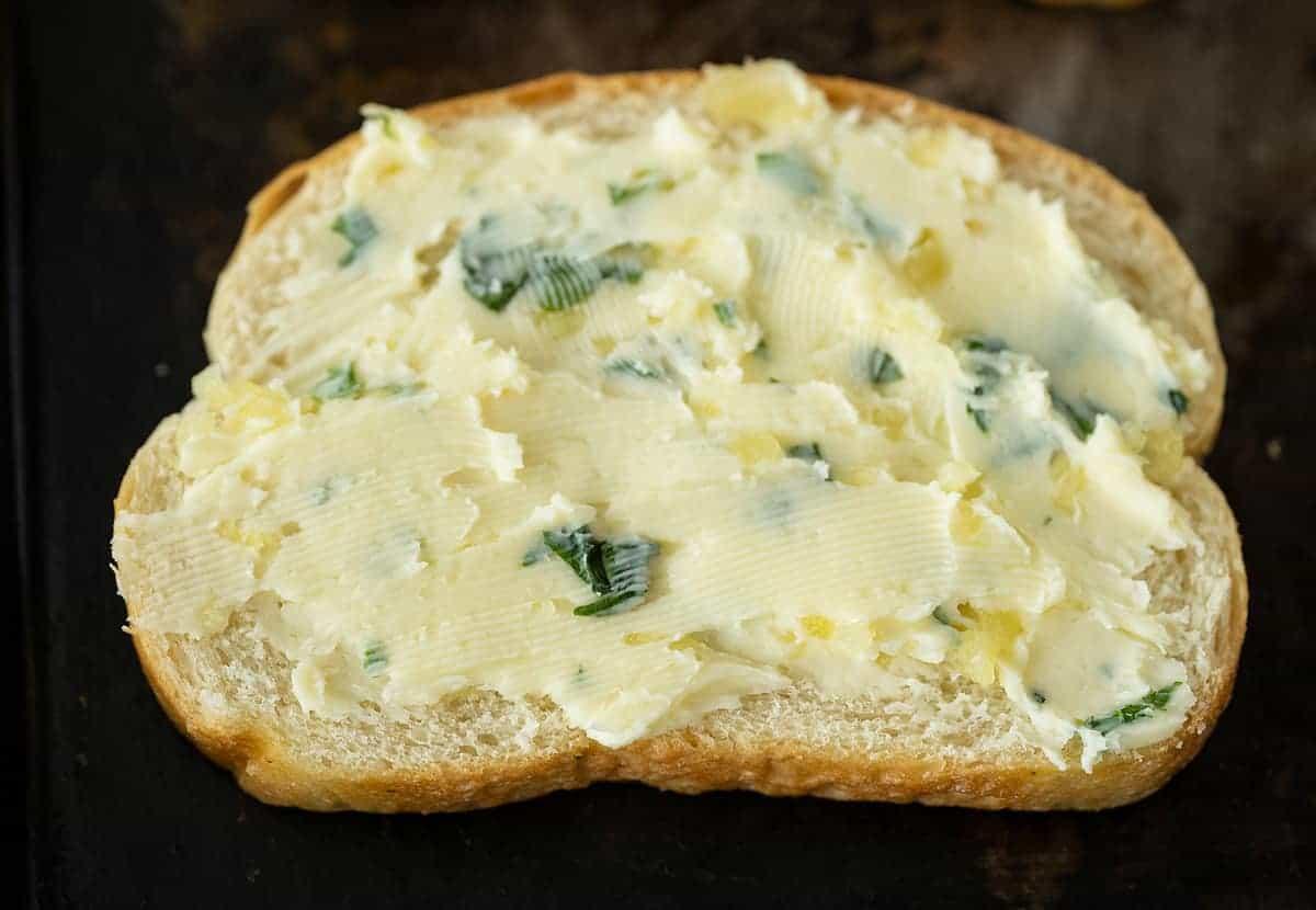 garlic butter spread on Texas toast