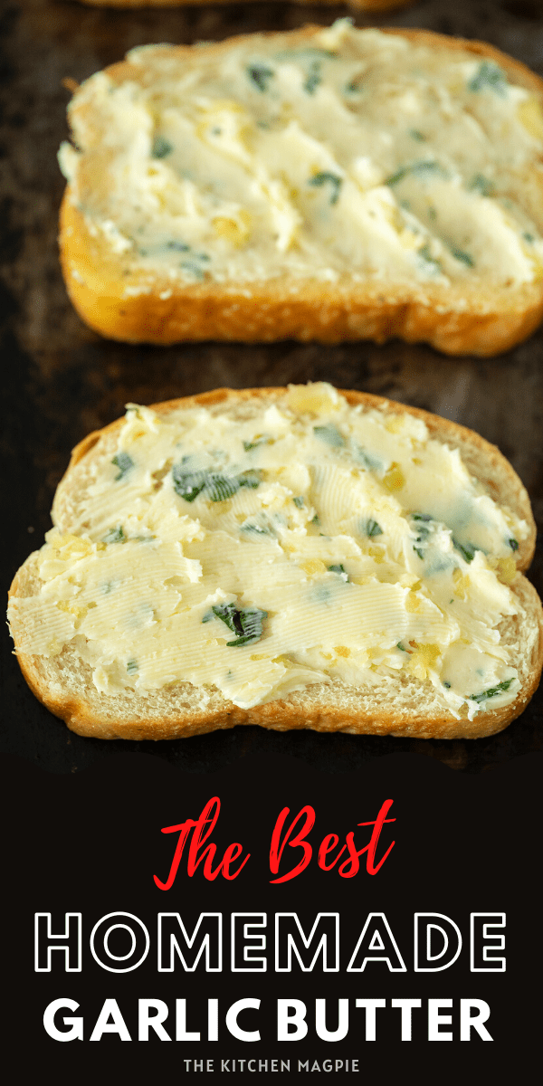 This easy homemade garlic butter is only 4 ingredients and takes 5 minutes to make at home! You'll never use storebought again! #garlic #butter #garlicbread
