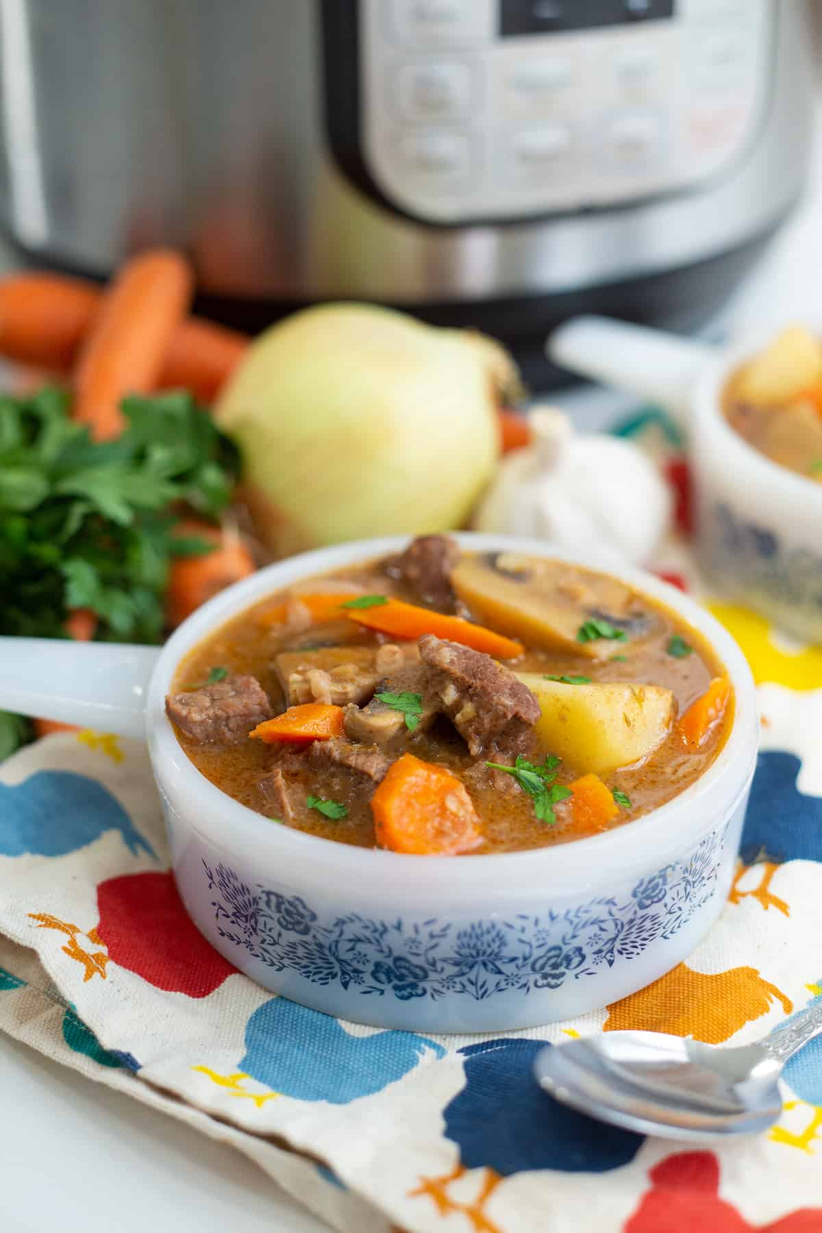 close up Instant Pot Beef Stew in a bowl with handle