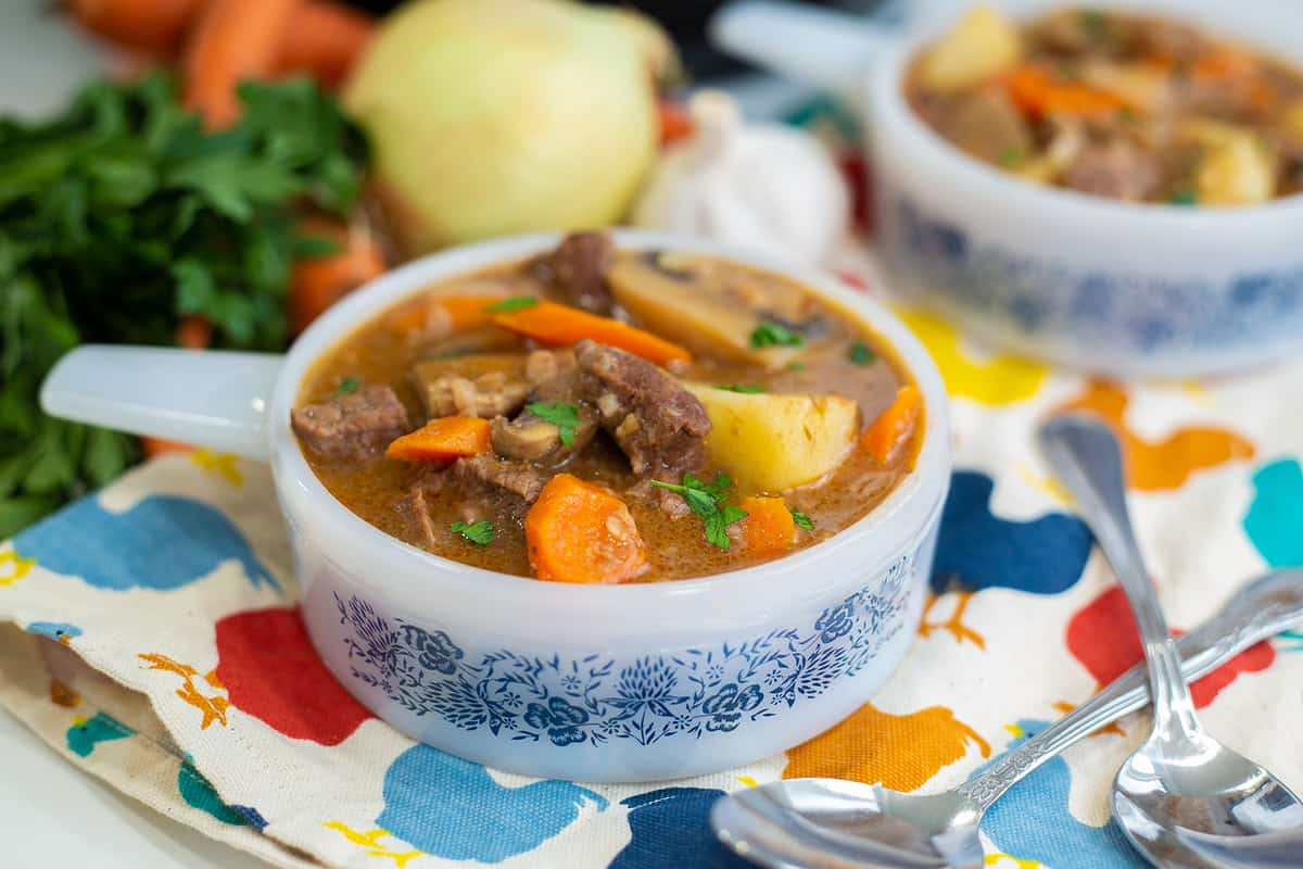 Instant Pot Beef Stew in a bowl with handle