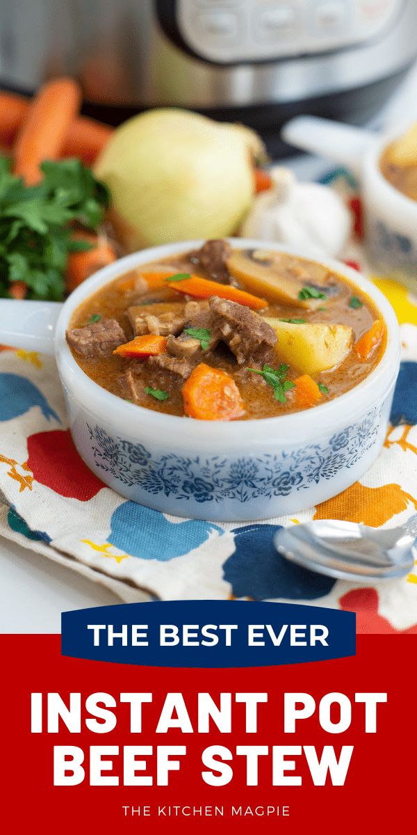 This Instant Pot beef stew recipe is so easy, fast and extremely delicious it's sure to become one of your favorite recipes to make in the pressure cooker! #instantpot #beefstew #pressurecooker