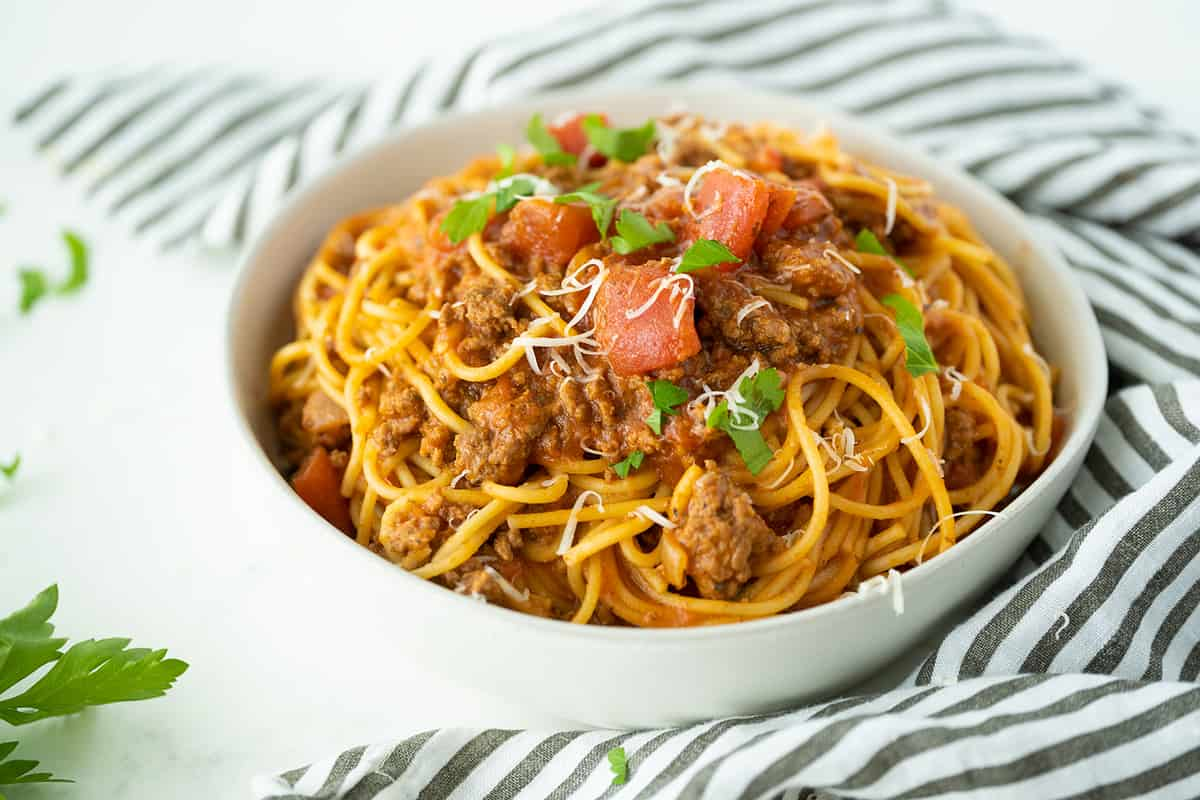 Instant Pot spaghetti in a white bowl