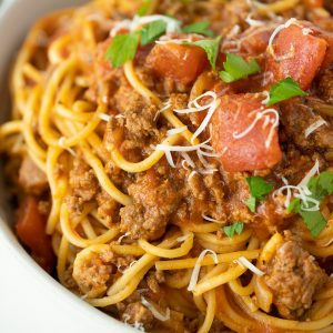 close up Instant Pot spaghetti in a white bowl
