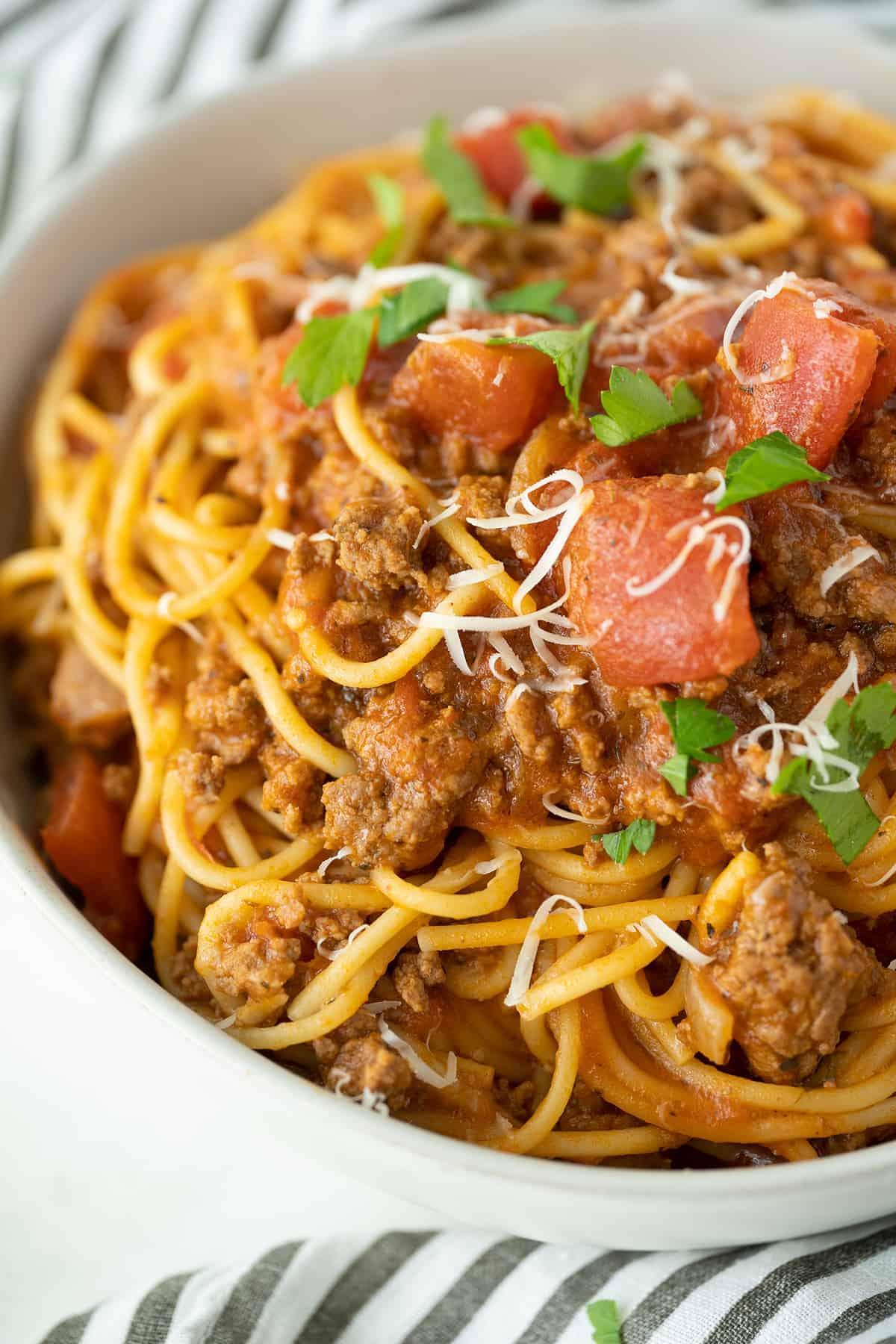 close up Instant Pot spaghetti in a white bowl