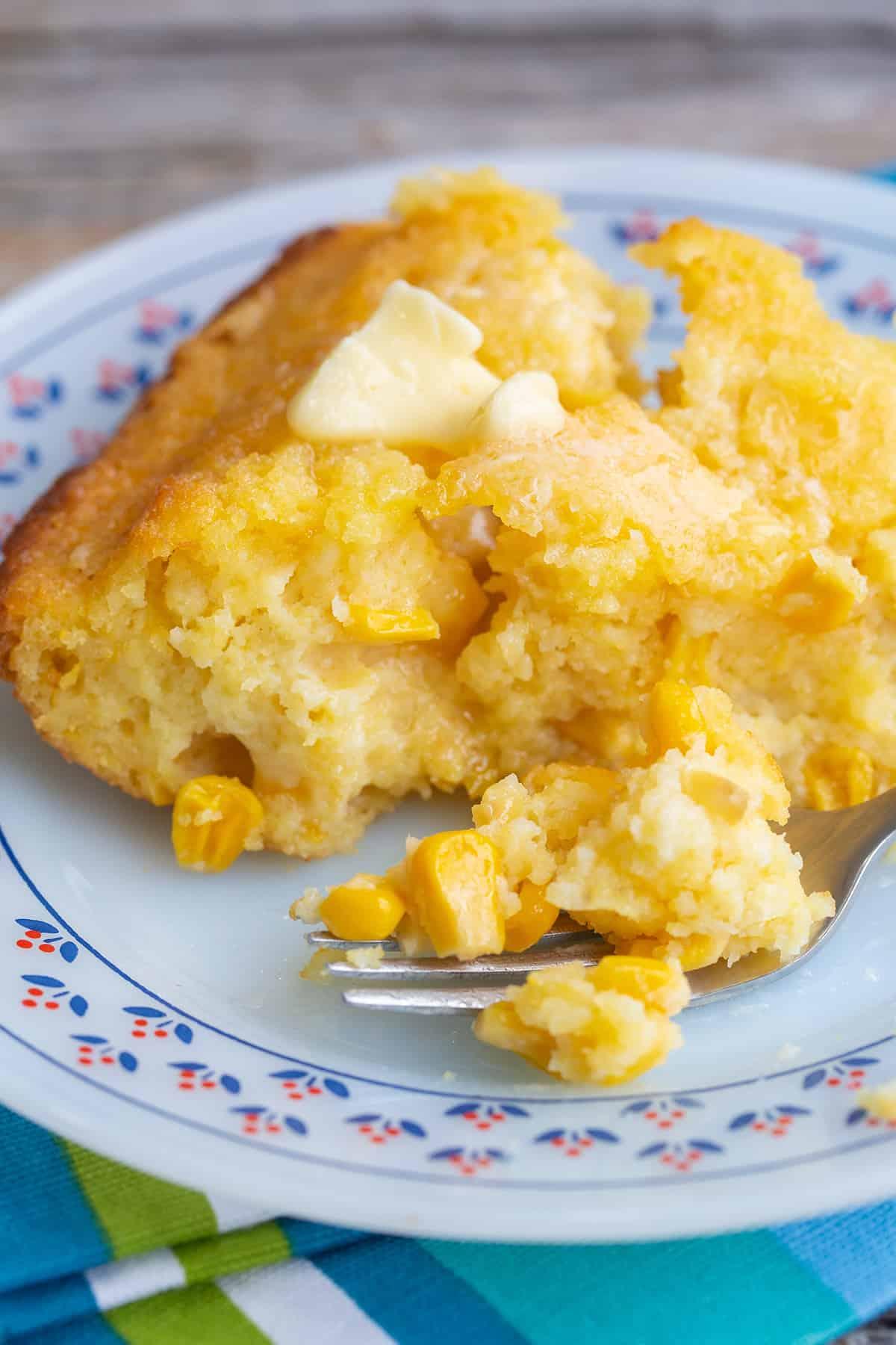Jiffy Corn Casserole in a plate