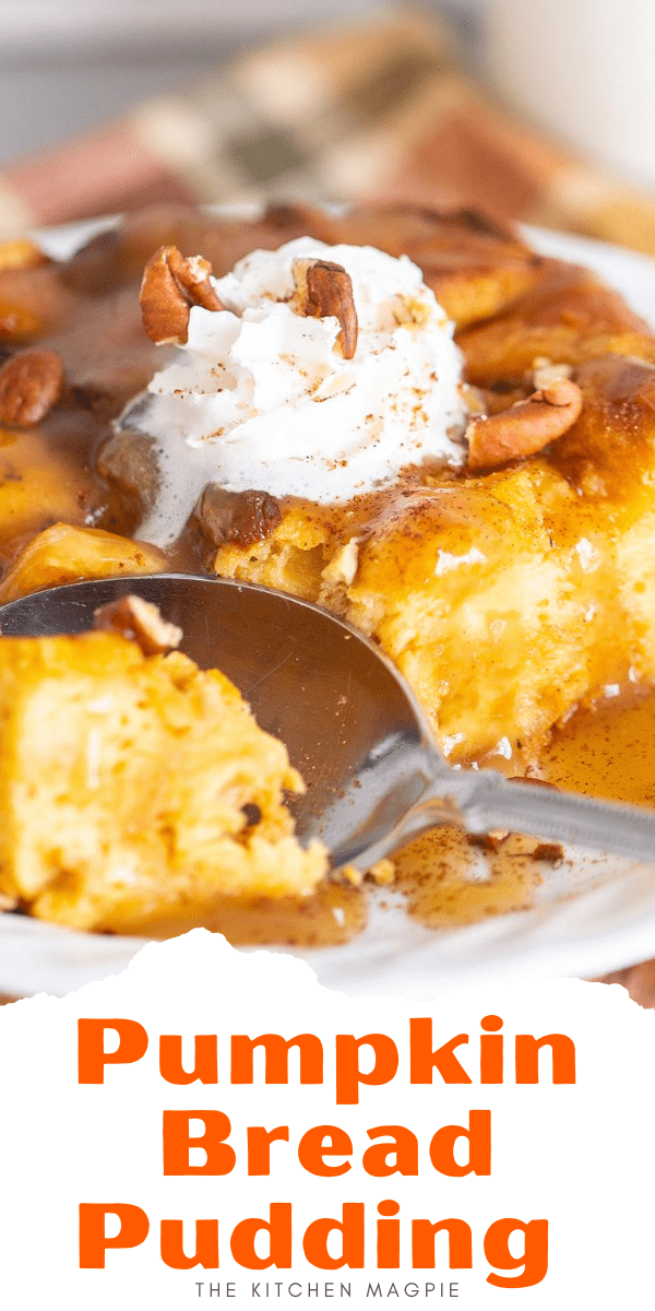This delicious pumpkin bread pudding recipe is the perfect breakfast or dessert for the busy home cook : it's only a few ingredients, takes mere minutes to put together and you make it ahead of time! #pumpkin #fall #dessert #Christmas #Thanksgiving