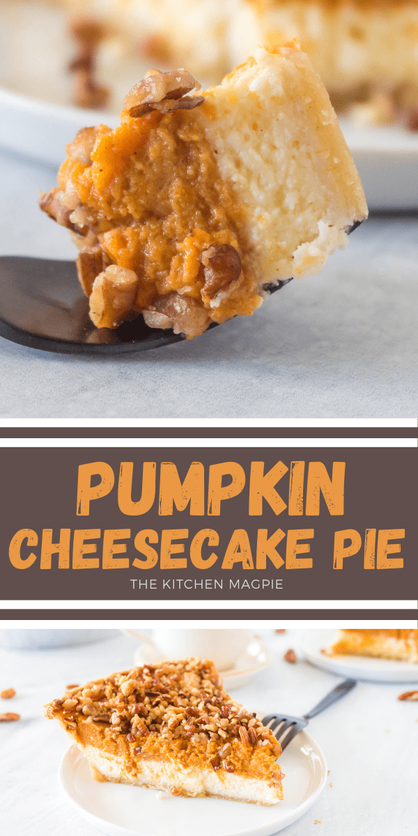 This layered pumpkin cheesecake pie has a delicious cheesecake layer, a spiced pumpkin pie layer, and a decadent pecan streusel that is sure to impress! #pumpkin #pie #cheesecake