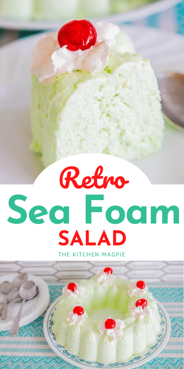 How to make a delicious and gloriously retro Sea Foam Salad! Lime gelatin, canned pears and cream cheese make this retro dessert salad a timeless favorite! #dessert #Christmas #Thanksgiving