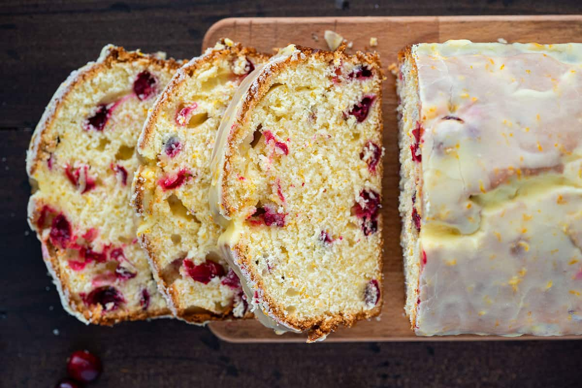 licesd loaf of cranberry orange bread