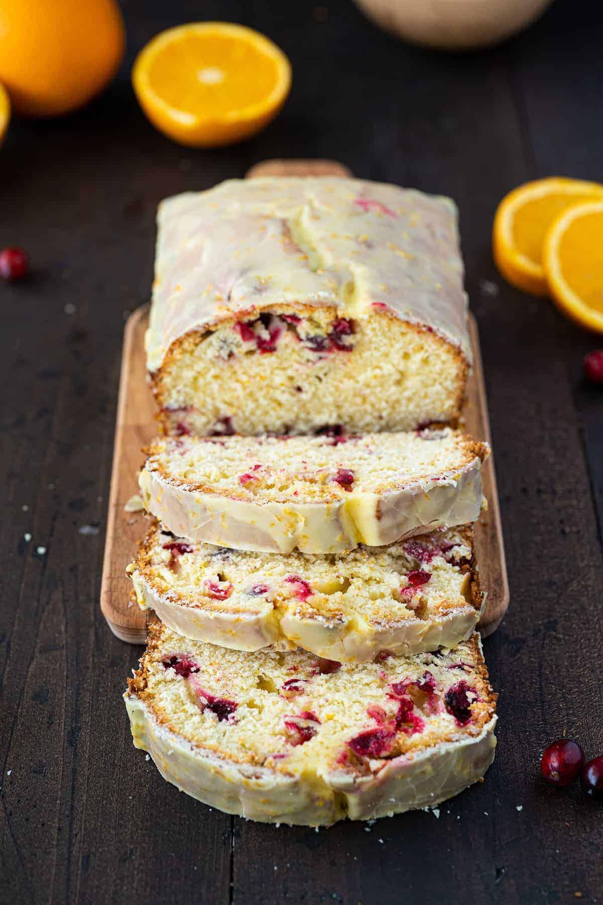 sliced loaf of cranberry orange bread